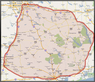 Areas we service.  Serving East Texas, Central Texas, and Western Louisiana
